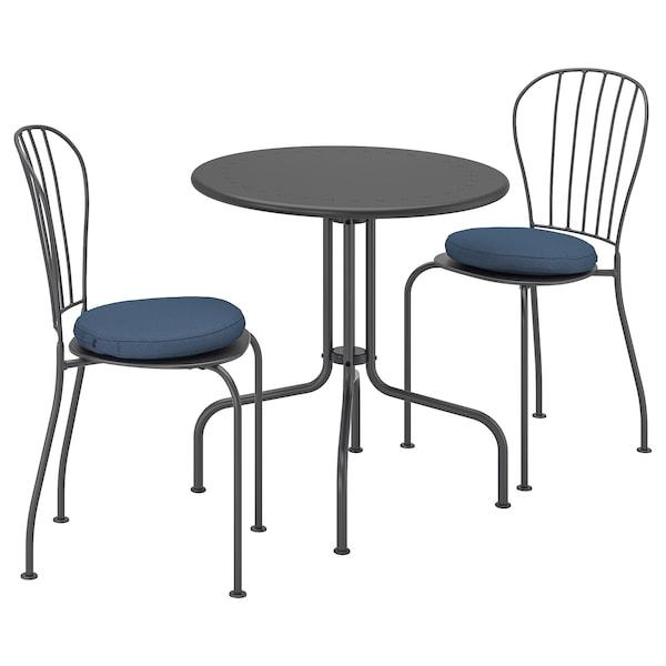 LÄCKÖ Bord+2 stolar, utomhus grå, FrösönDuvholmen blå