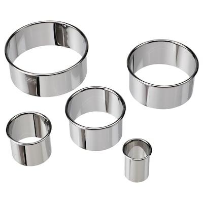 LÄTTBAKAD Kakskärare, set om 5, silverfärgad