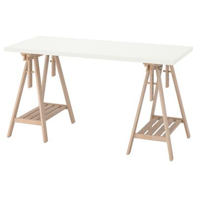 LAGKAPTEN / MITTBACK Skrivbord, vit/björk, 140x60 cm