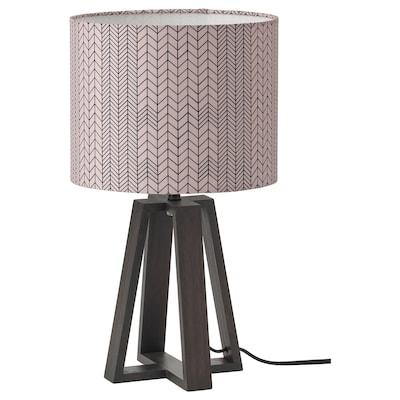 LAKAFORS Bordslampa, mörkbrun/trä/mörkrosa svart, 40 cm