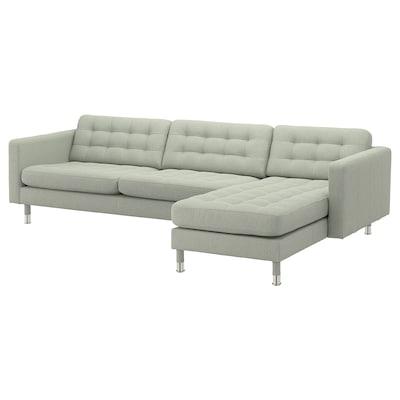 LANDSKRONA 4-sitssoffa, med schäslong/Gunnared ljusgrön/metall