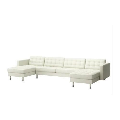 LANDSKRONA 2 schäslonger och 3 sits soffa Grann Bomstad vit, metall IKEA