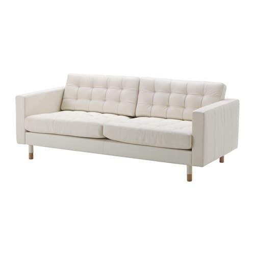LANDSKRONA 3 sits soffa Grann Bomstad vit, trä IKEA