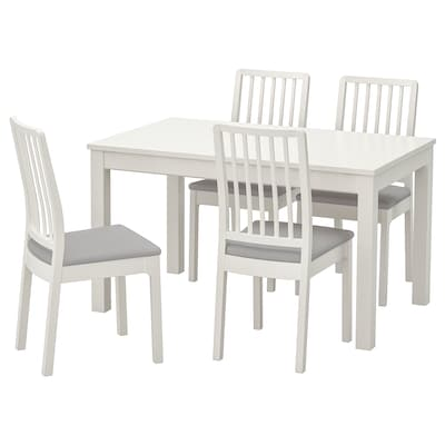 LANEBERG / EKEDALEN Bord och 4 stolar, vit/vit ljusgrå, 130/190x80 cm