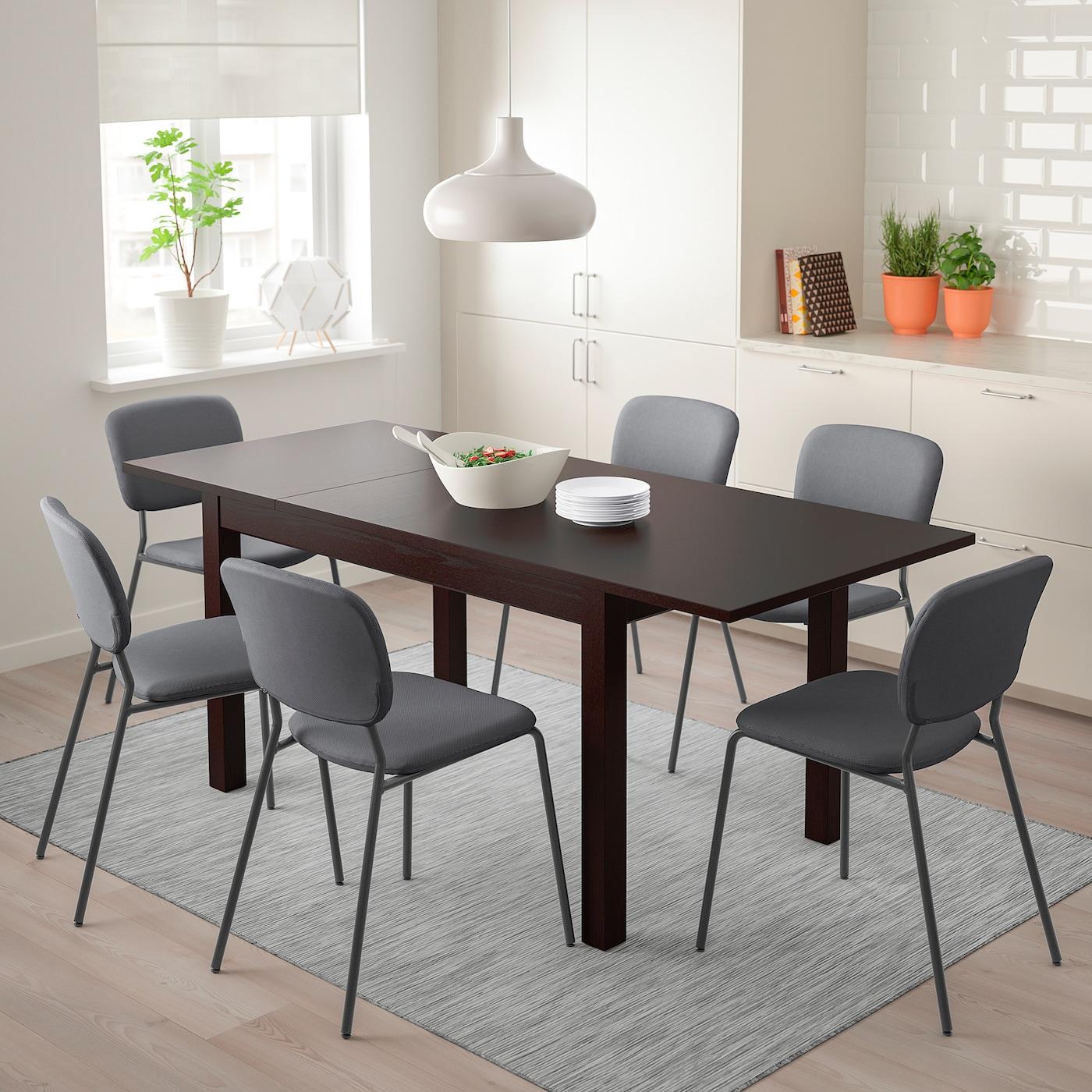 LANEBERG KARLJAN Bord och 4 stolar brunmörkgrå mörkgrå 130190x80 cm