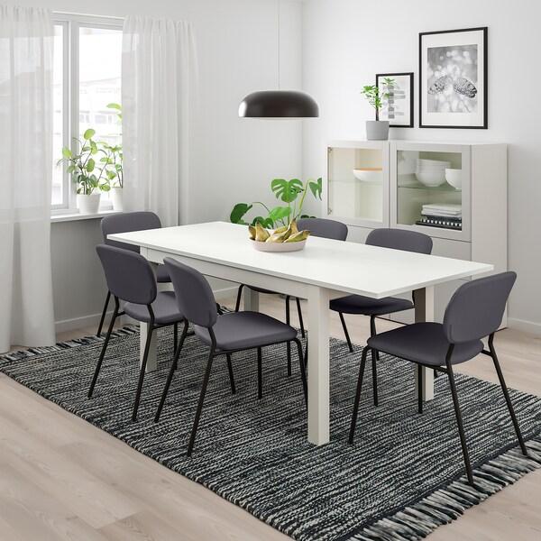 LANEBERG KARLJAN Bord och 4 stolar vitmörkgrå mörkgrå 130190x80 cm