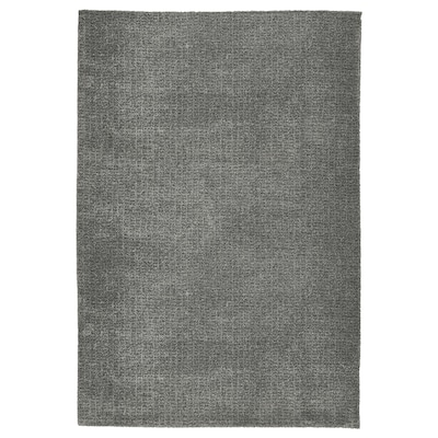 LANGSTED Matta, kort lugg, ljusgrå, 133x195 cm
