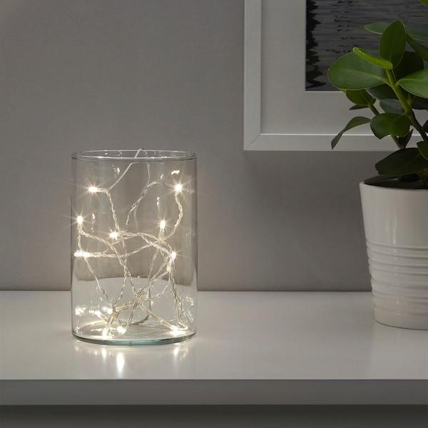 LEDFYR LED ljusslinga med 12 ljus, inomhus/batteridriven silverfärgad