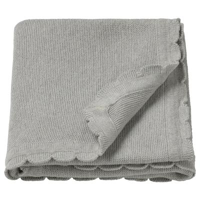 LEN Babyfilt, stickad/grå, 70x90 cm