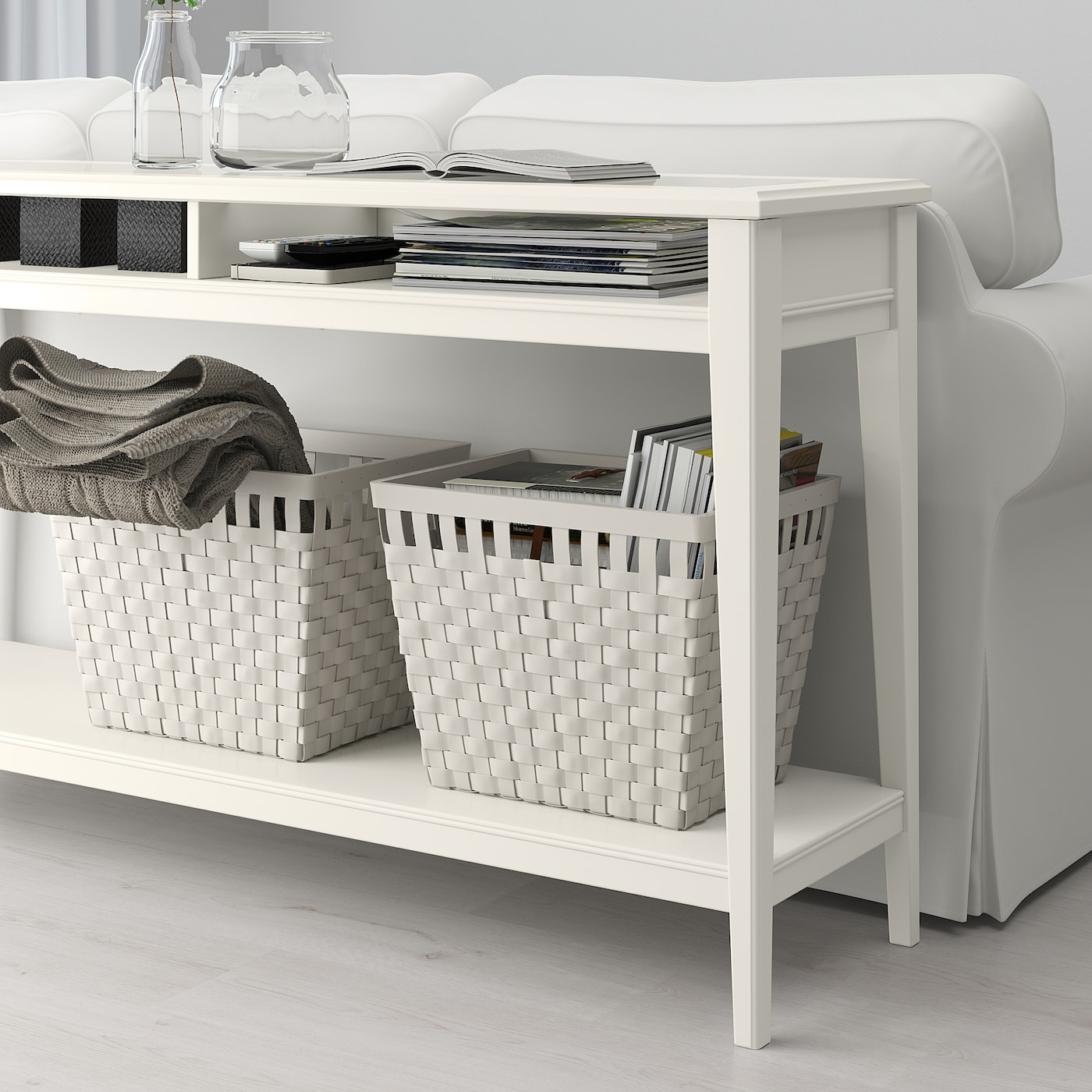 LIATORP Avlastningsbord, vit, glas, 133x37 cm IKEA