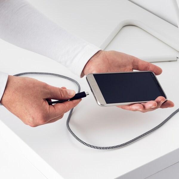 LILLHULT Mikro USB till USB kabel, svart, vit, 0.4 m IKEA