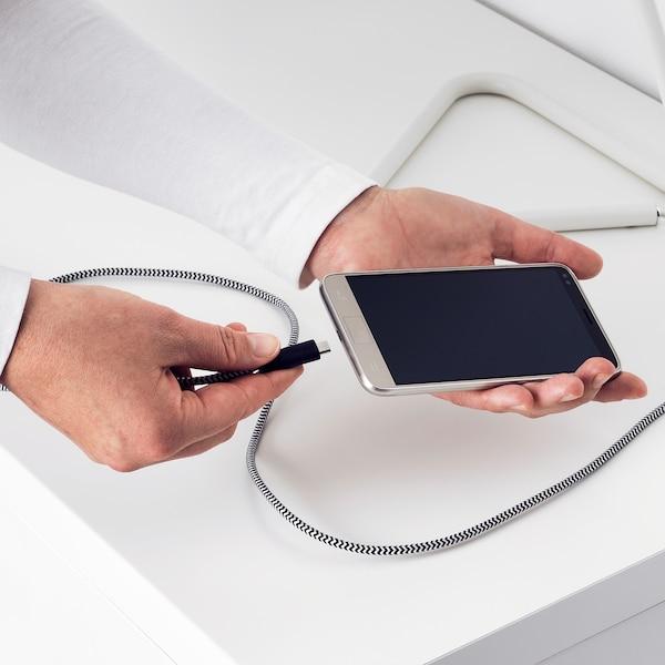 LILLHULT Mikro-USB till USB-kabel, svart/vit, 0.4 m