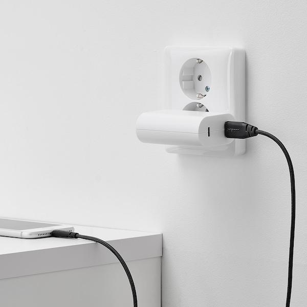 LILLHULT USB typ A till lightning kabel, mörkgrå, 1.5 m