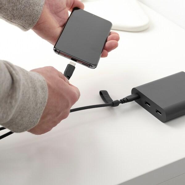 LILLHULT USB typ C till USB C-kabel, mörkgrå, 1.5 m