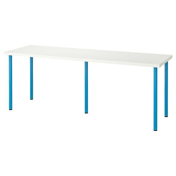 LINNMON / ADILS Bord, vit/blå, 200x60 cm