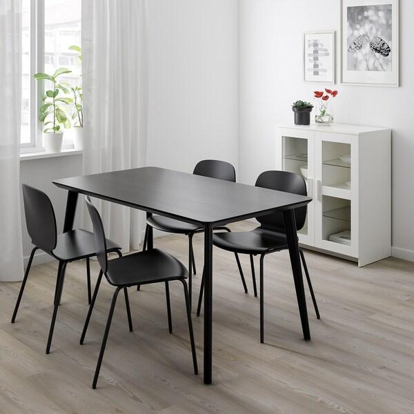 LISABOIDOLF Bord och 4 stolar, svart, svart IKEA