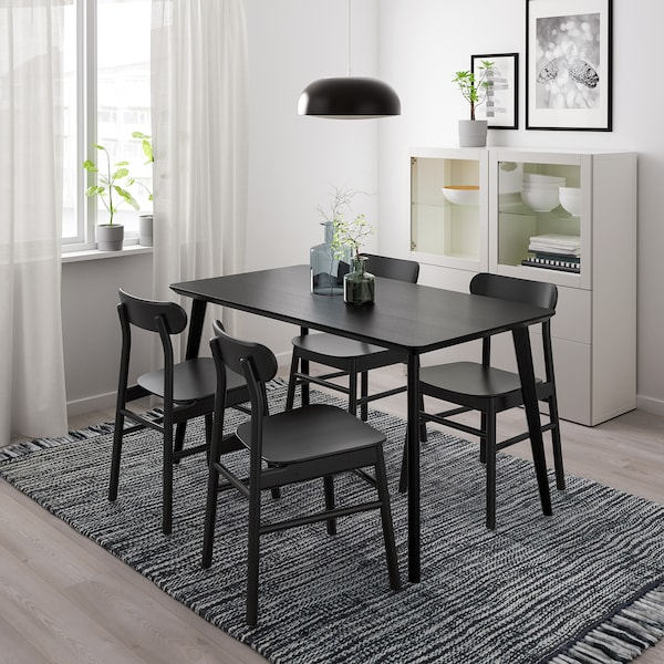 LISABO / RÖNNINGE Bord och 4 stolar, svart/svart, 140x78 cm