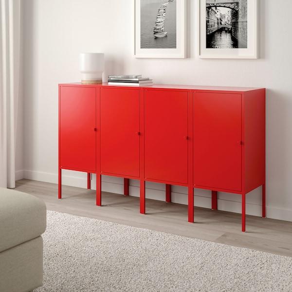 LIXHULT Förvaringskombination, röd, 140x35x82 cm