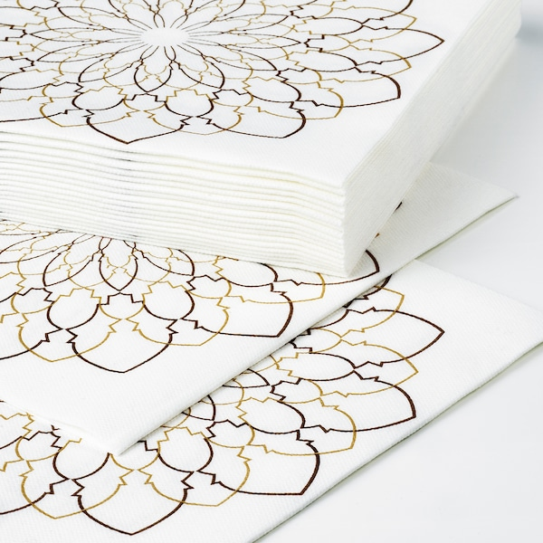 LJUVARE Pappersservett, vit/beige, 33x33 cm