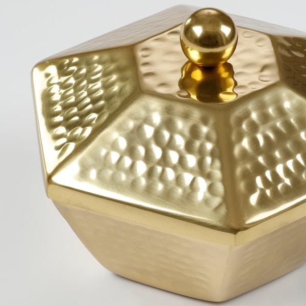 LJUVARE Serveringsskål med lock, guldfärgad, 16 cm
