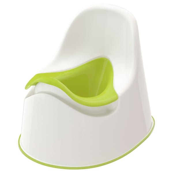 LOCKIG Potta, vit/grön