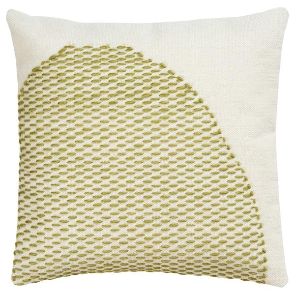 LOKALT Kuddfodral, natur grön/handgjord, 50x50 cm