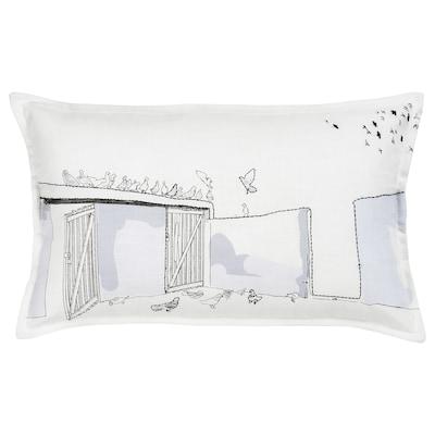 LOKALT Kuddfodral, vit lila/handgjord, 65x40 cm