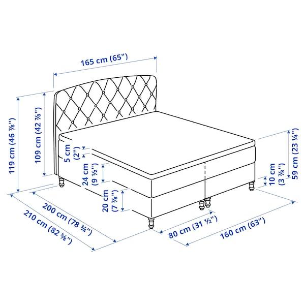 LOMMEDALEN Kontinentalsäng, Hövåg fast/medium fast/Tuddal SKIFTEBO ljusbeige, 160x200 cm