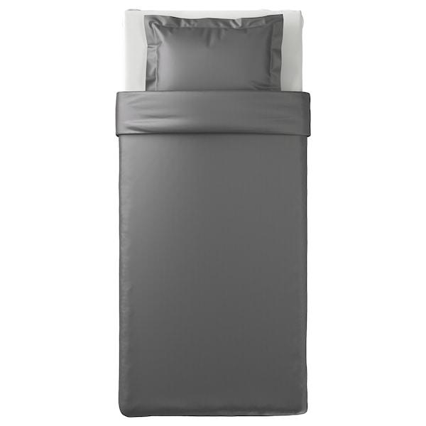 LUKTJASMIN Påslakan 1 örngott, mörkgrå, 150x200/50x60 cm