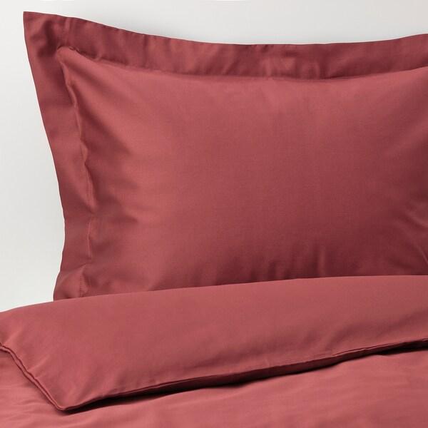 LUKTJASMIN Påslakan 1 örngott, rödbrun, 150x200/50x60 cm