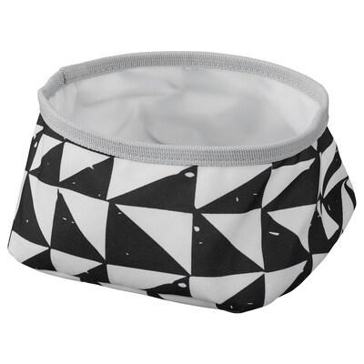 LURVIG Skål, vit/svart, 16 cm