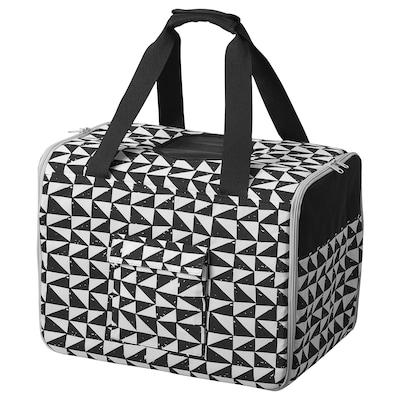 LURVIG Transportväska för husdjur, vit/svart