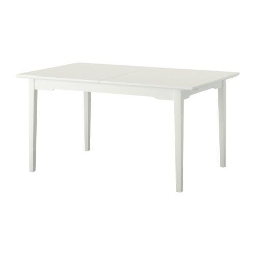 LYCKHEM Matbord, vit Längd: 150 cm Max. längd: 200 cm Bredd: 85 cm Höjd: 74 cm