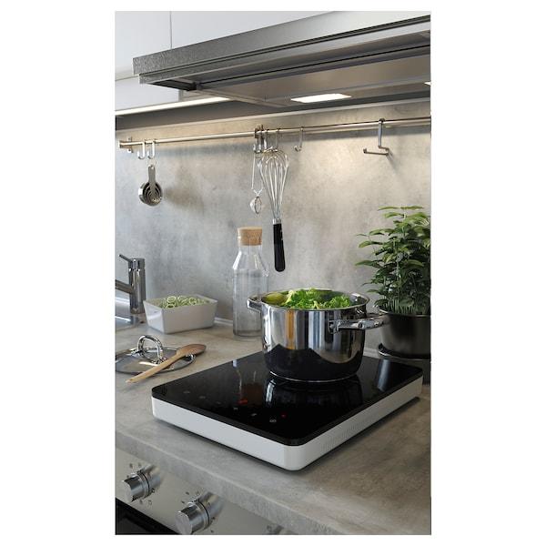 LYSEKIL Väggplatta, dubbelsidig vit/ljusgrå betongmönstrad, 119.6x55 cm