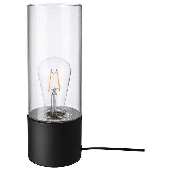 MÅCKEBO Bordslampa svarttransparent glas 28 cm