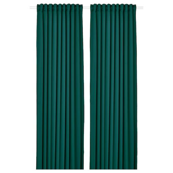 MAJGULL Mörkläggningsgardiner, 1 par, mörkturkos, 145x300 cm