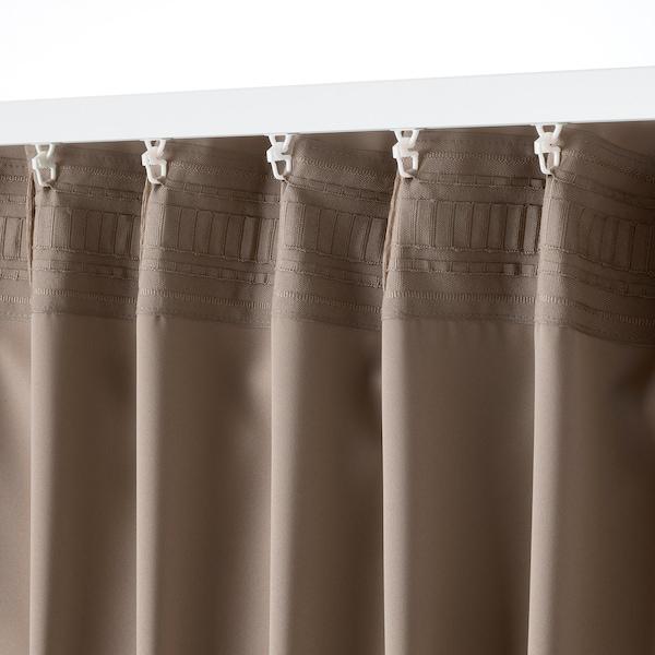 MAJGULL Rumsförmörkande gardiner, 1 par, grå/brun, 145x250 cm