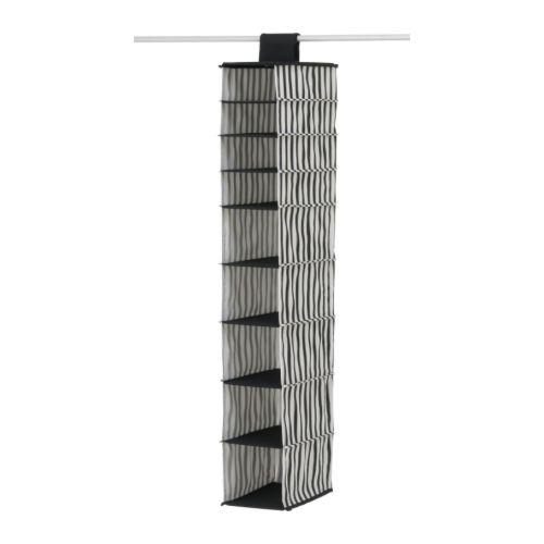 MÄLLA Förvaringsfack, svart, vit rand Bredd: 16 cm Djup: 35 cm Höjd: 110 cm