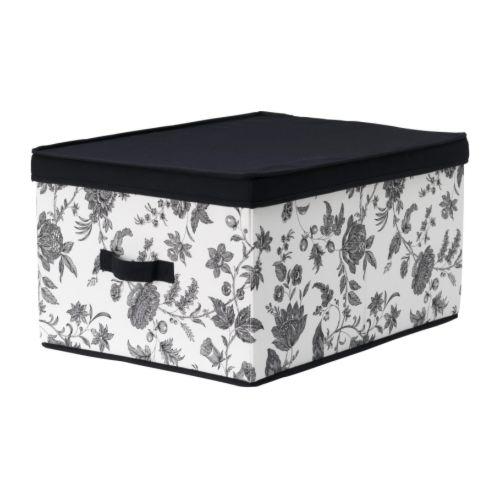 MÄLLA Klädlåda med lock svart, vit Bredd: 42 cm Djup: 56 cm Höjd: 30 cm
