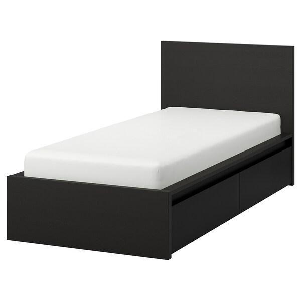 MALM sängstomme, hög, med 2 sänglådor svartbrun/Luröy 15 cm 211 cm 135 cm 97 cm 59 cm 38 cm 100 cm 200 cm 120 cm