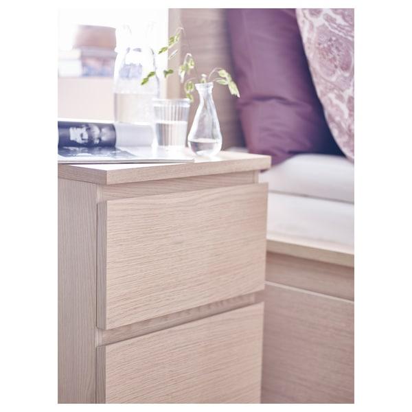 MALM Byrå med 2 lådor, vitlaserad ekfaner, 40x55 cm