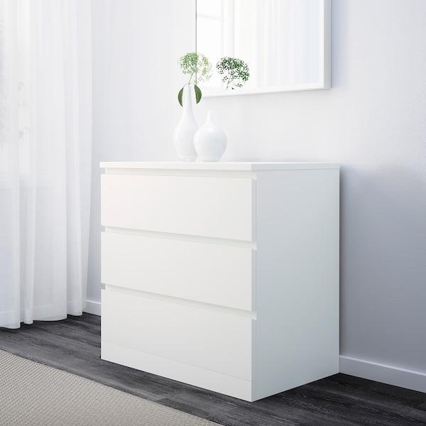 MALM Byrå med 3 lådor, vit, 80x78 cm