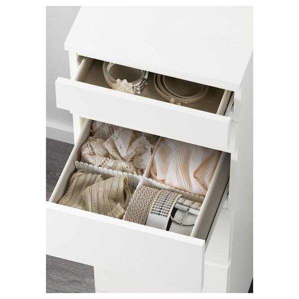 MALM Byrå med 6 lådor, vit/spegelglas, 40x123 cm