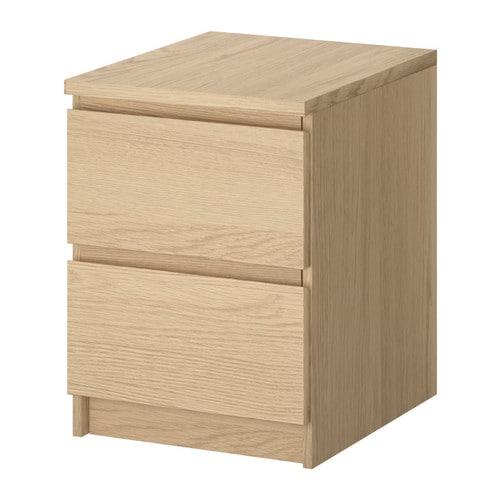 MALM Byrå med 2 lådor vitlaserad ekfaner IKEA