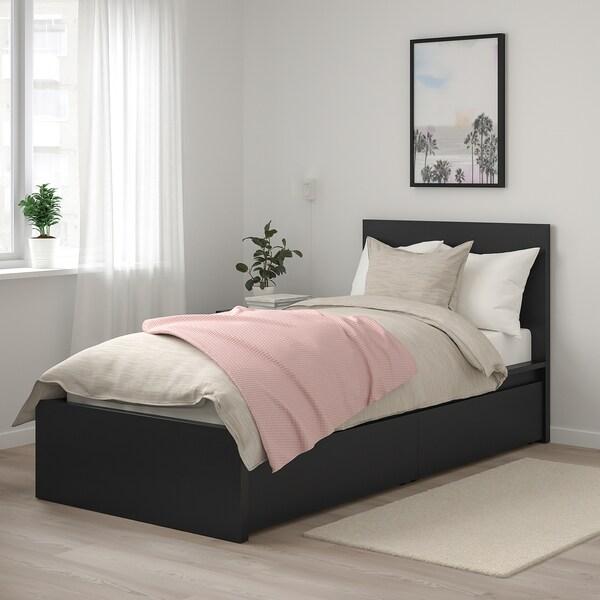 MALM Sängstomme, hög, med 2 sänglådor, svartbrun/Luröy, 90x200 cm
