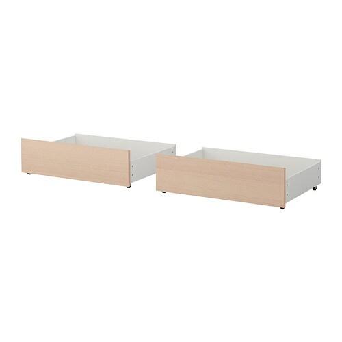 MALM Sänglåda för hög sängstomme vitlaserad ekfaner IKEA
