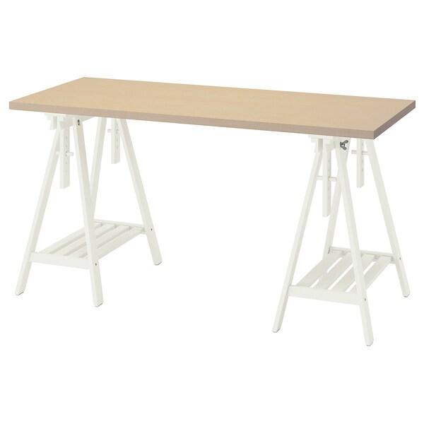 MÅLSKYTT / MITTBACK Skrivbord, björk/vit, 140x60 cm