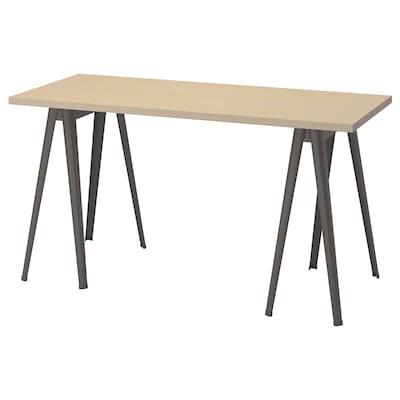 MÅLSKYTT / NÄRSPEL Skrivbord, björk/mörkgrå, 140x60 cm