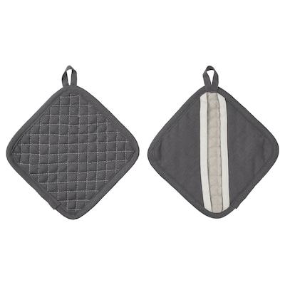MARIATHERES Grytlapp, grå/beige, 19x19 cm