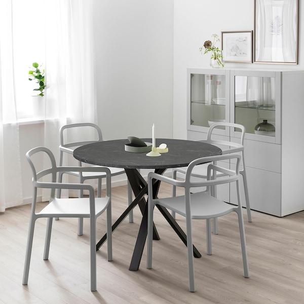 MARIEDAMM Bord, svart marmormönstrad, 105 cm